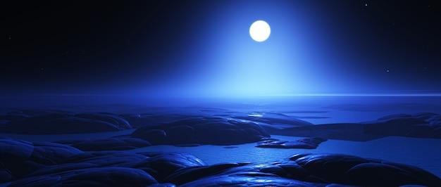 3d übertragen in der nacht von einer fantasie fremden landschaft mit mond Kostenlose Fotos