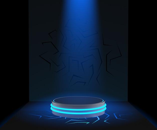 3d übertragen sockel für anzeige, leeren produktstand, blaulicht Premium Fotos
