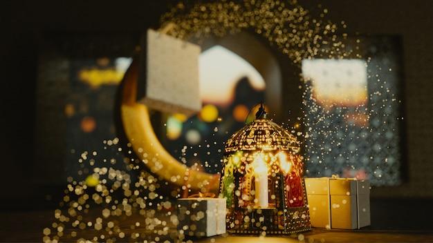 3d übertragen vom halbmond mit belichteter laterne und geschenken Premium Fotos