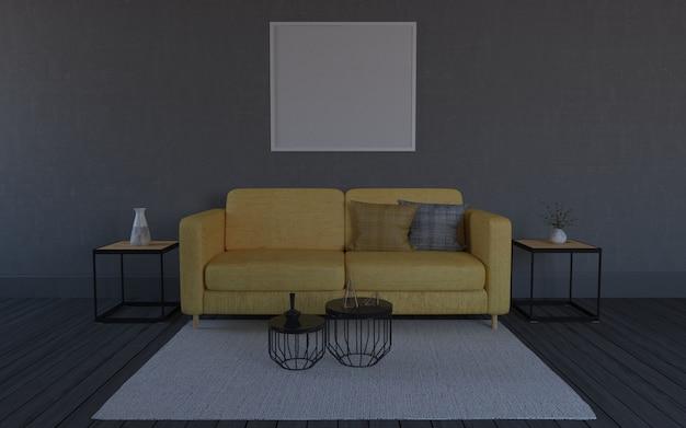 3d übertragen vom innenraum des modernen wohnzimmers mit sofa - couch und tabelle Premium Fotos