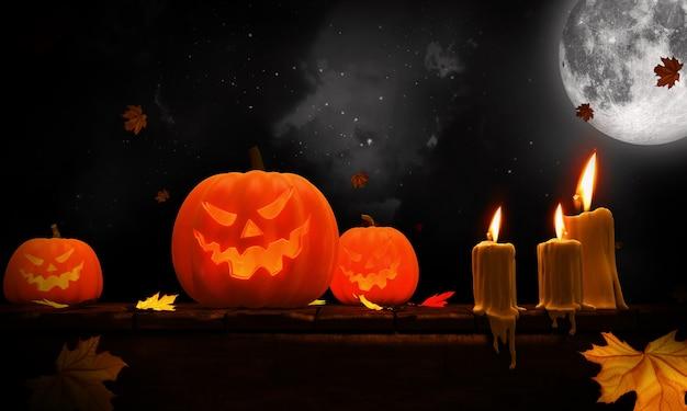3d übertragen von den halloween-kürbisen auf holz in einem gespenstischen wald nachts. Premium Fotos