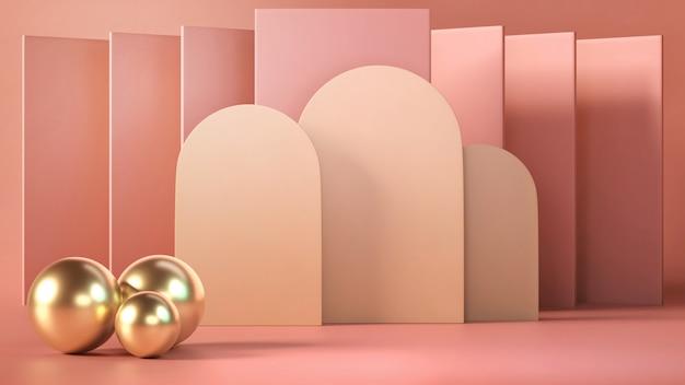 3d übertragen von der abstrakten rosa farbgeometrischen form, vom modernen unbedeutenden modell für podiumanzeige oder vom schaukasten Premium Fotos