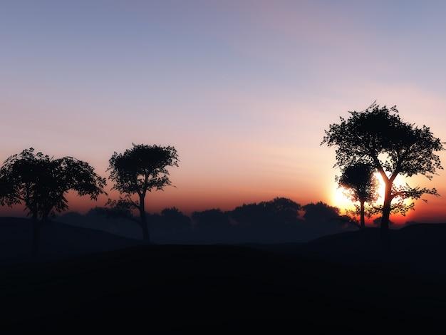 3d übertragen von einem baum landschaft gegen einen sonnenuntergang himmel Kostenlose Fotos