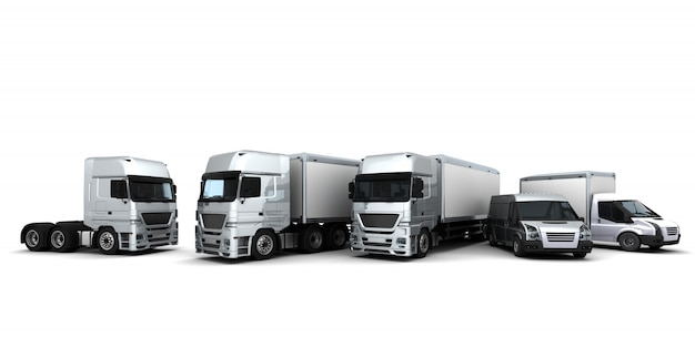 3d übertragen von einer flotte von lieferfahrzeuge render Kostenlose Fotos