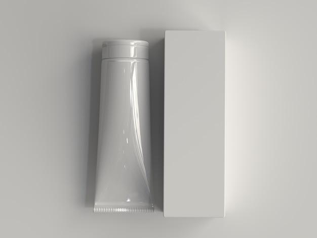 3d übertrug kosmetisches rohr mit kasten ohne einen aufkleber Premium Fotos