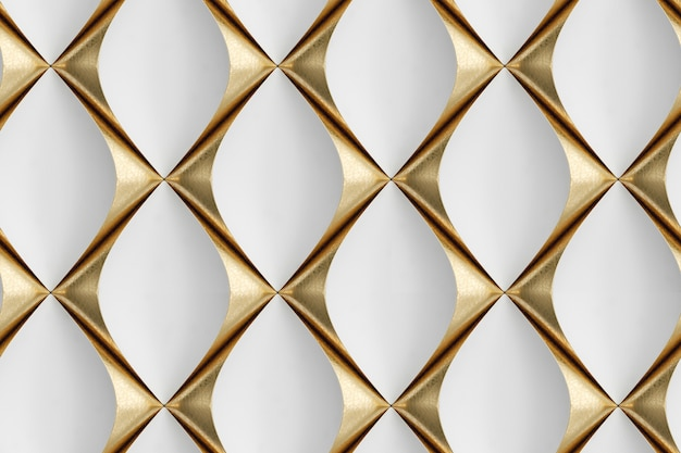 3d-wandpaneele aus weißem leder mit goldenen dekorelementen Premium Fotos
