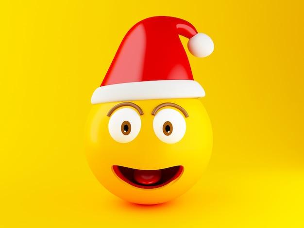 3d weihnachten emoji icons mit nikolausmütze. Premium Fotos