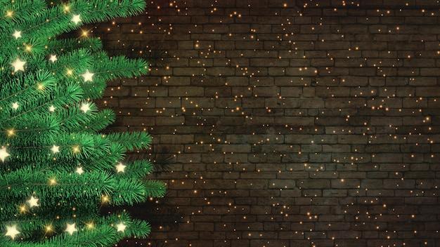 3d weihnachtsbaum gegen einen backsteinmauerhintergrund Premium Fotos