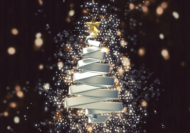 3d weihnachtsbaum mit schein bokeh lichteffekt Kostenlose Fotos