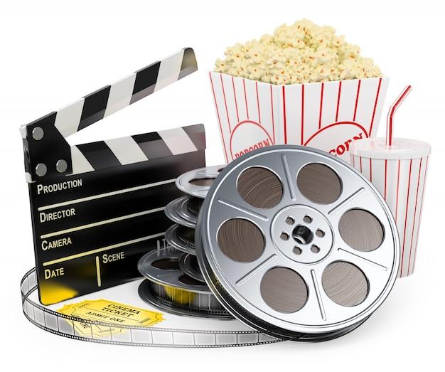 3d weißer charakter. cinema clapper film reel drink und popcorn Premium Fotos
