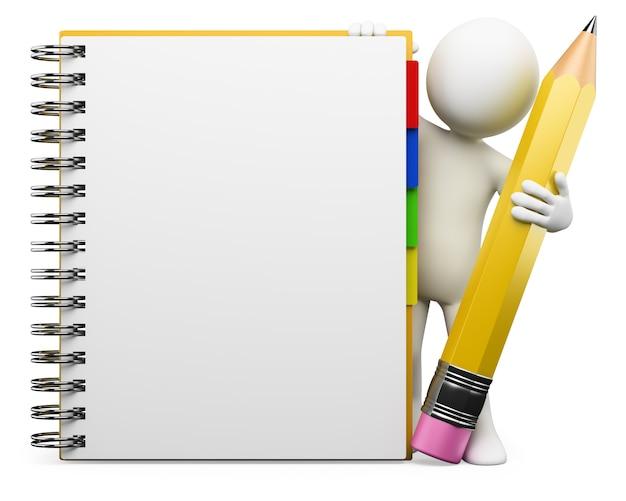 3d weißer charakter. notizblock Premium Fotos