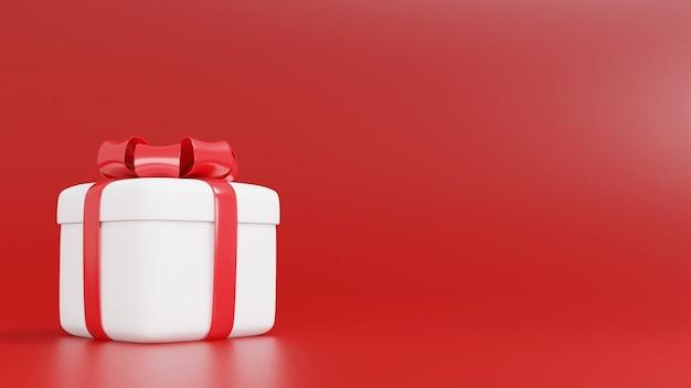 3d-wiedergabe der weißen geschenkbox für weihnachten Premium Fotos