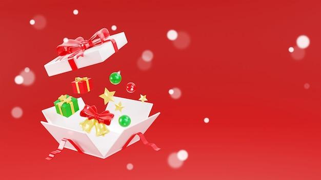 3d-wiedergabe der weißen geschenkbox Premium Fotos
