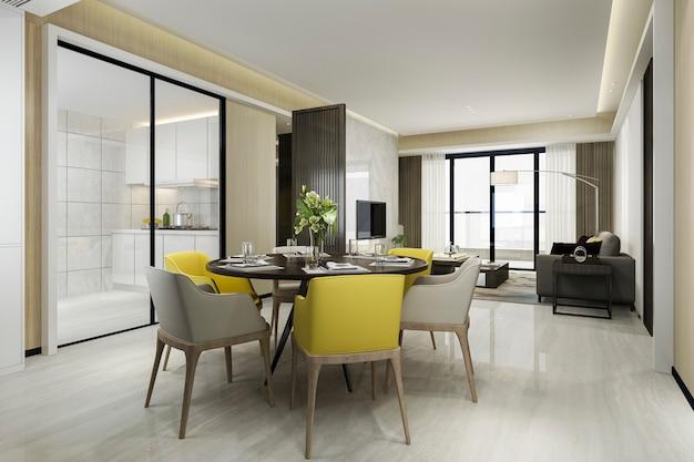 3d-wiedergabe gelben stuhl und luxusküche mit esstisch und wohnzimmer Premium Fotos