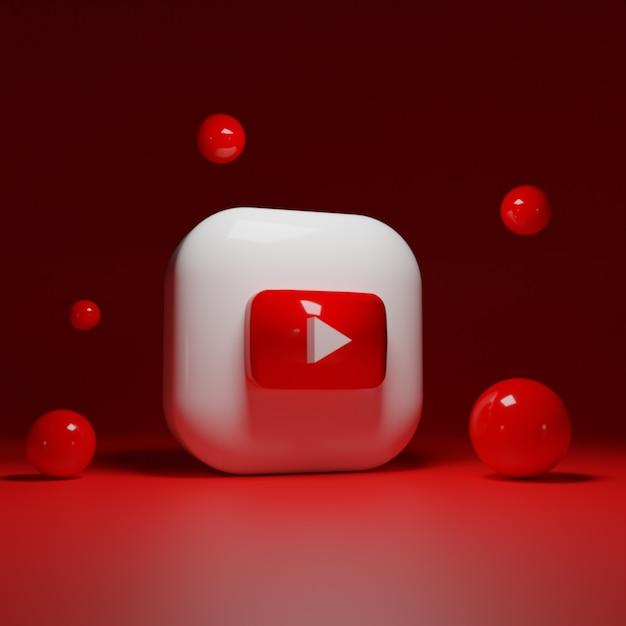 3d youtube logo anwendung Premium Fotos