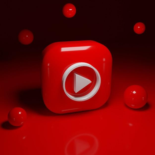 3d youtube musik logo anwendung Premium Fotos