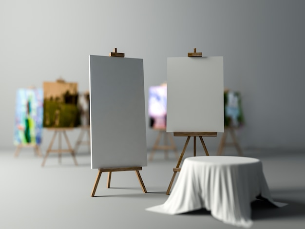 3ds übertrug bild von stativen für das malen Premium Fotos