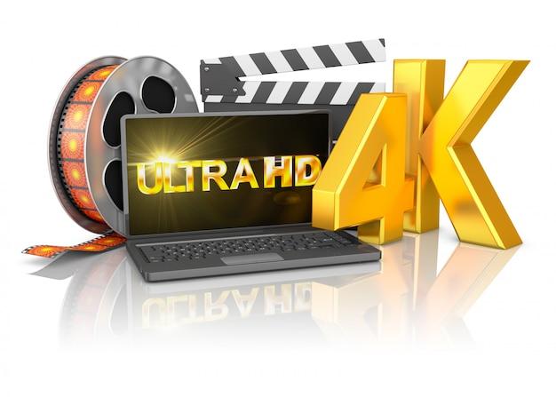 4k laptop und filmstreifen Premium Fotos