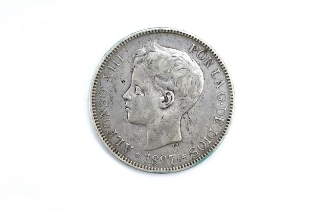 5 peseten, un duro, alfonso xiii, silber Premium Fotos