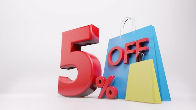 5% symbol mit einkaufstasche Premium Fotos