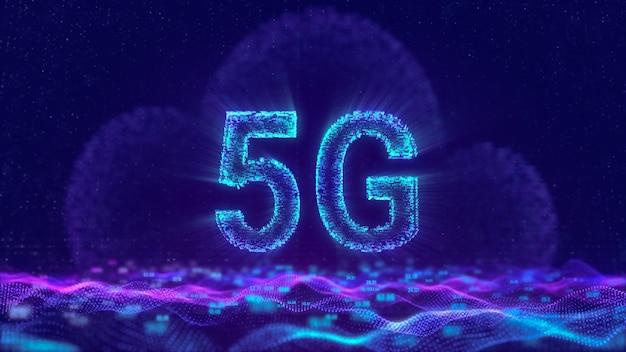 5g internet-netzwerk mit cloud-computing-technologie, digitales mobilfunk-konzept mit futuristisch fließenden dateninformationsteilchen Premium Fotos