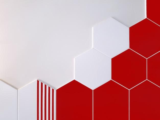 A aus leuchtend roten und weißen keramikfliesen in form eines sechsecks, das teilweise eine weiße wand bedeckt. konzept textur, Premium Fotos
