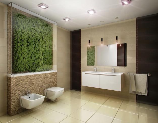 Abbildung 3d des badezimmers in den braunen tönen Premium Fotos