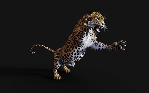 Abbildung 3d des getrennten leoparden auf schwarzem hintergrund Premium Fotos