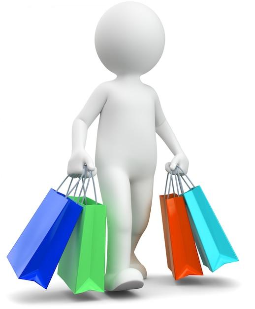 Abbildung 3d des weißen männlichen einkaufens Premium Fotos