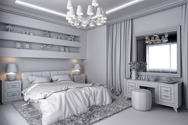 Abbildung 3d eines weißen schlafzimmers in der klassischen art Premium Fotos