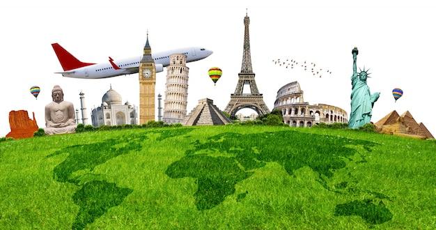 Abbildung des berühmten denkmals auf grünem gras Premium Fotos