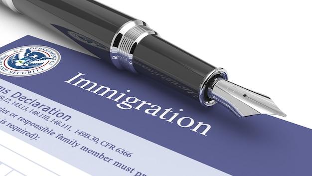 Abbildung des immigrationsdokuments 3d Premium Fotos