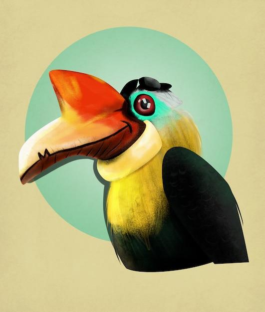 Abbildung seltsamer vogel Premium Fotos