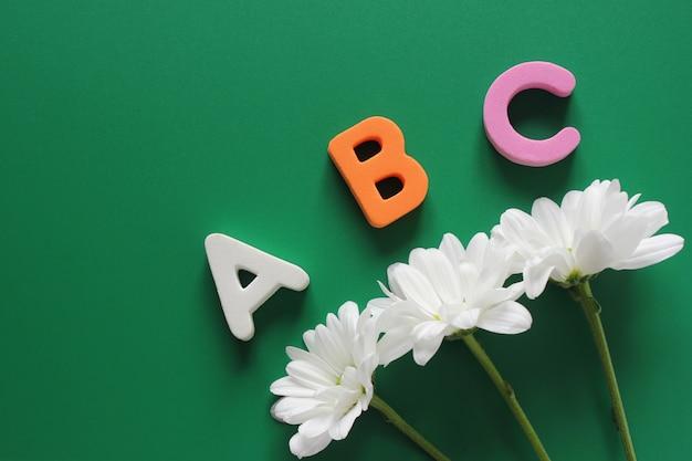Abc - die ersten buchstaben des englischen alphabets und drei weiße chrysanthemen Premium Fotos
