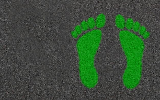Abdrücke im gras. ökologische illustration der konzeptkunst 3d Premium Fotos