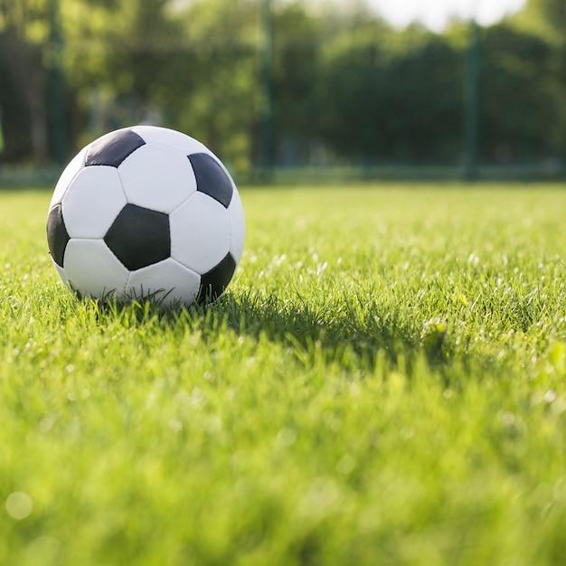 Abschluss oben des fußballs im gras Kostenlose Fotos