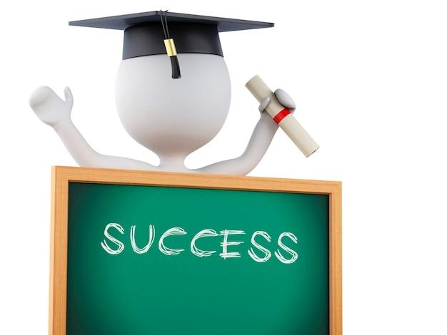 Absolventen der weißen leute 3d mit diplom, staffelungskappe und tafel. Premium Fotos