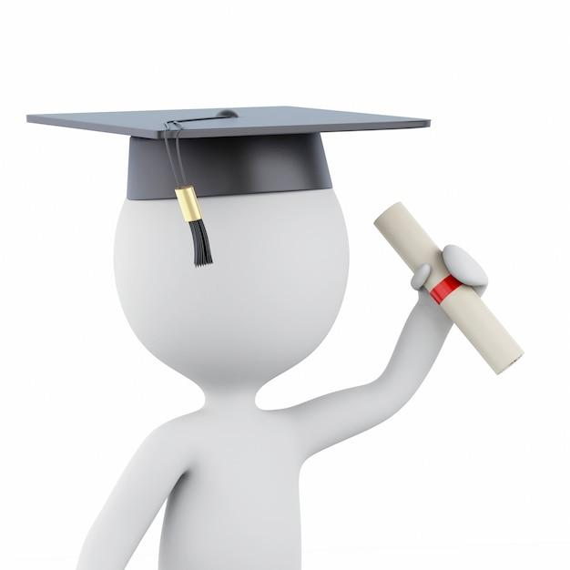 Absolventen der weißen leute 3d mit diplom- und staffelungskappe Premium Fotos