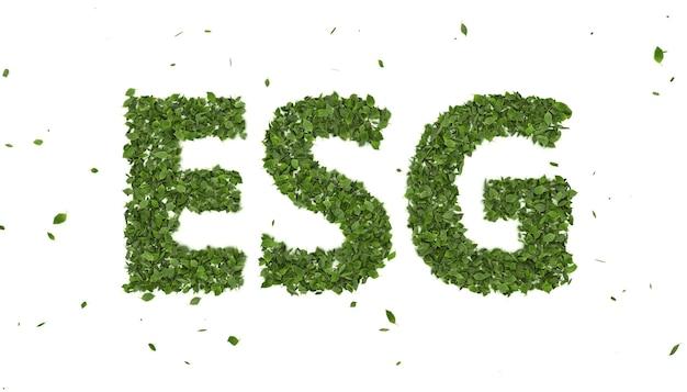 Abstrakte 3d-blätter, die esg-textsymbol auf weißem hintergrund bilden, kreativer öko-umweltinvestitionsfonds, 2021 zukünftiger geschäftstrend der innovation der grünen energie Premium Fotos