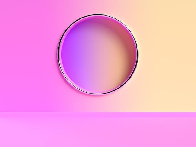 Abstrakte 3d-rendering-szene des rosa gelben wandgradienten Premium Fotos