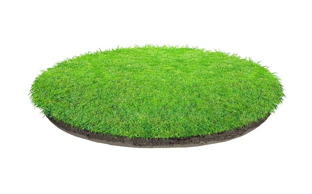 Abstrakte beschaffenheit des grünen grases. kreis grünes gras isoliert Premium Fotos