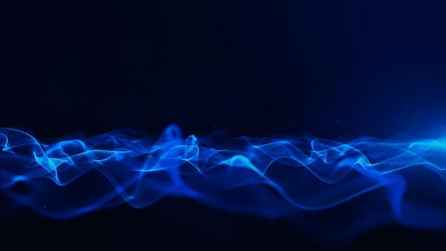 Abstrakte blaue farbdigitalpartikel mit bokeh und hellem hintergrund Premium Fotos