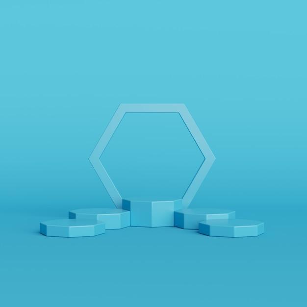 Abstrakte blaue farbgeometrieform auf blauem hintergrund, minimales podium für produkt, wiedergabe 3d Premium Fotos