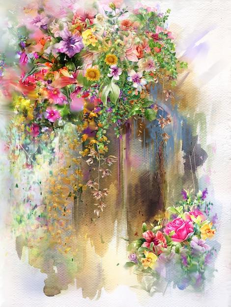 Abstrakte blumen auf wandaquarellmalerei. mehrfarbige frühlingsblumen Premium Fotos