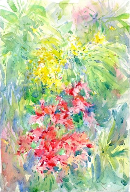 Abstrakte bunte blumenaquarellmalerei. frühling bunt Premium Fotos