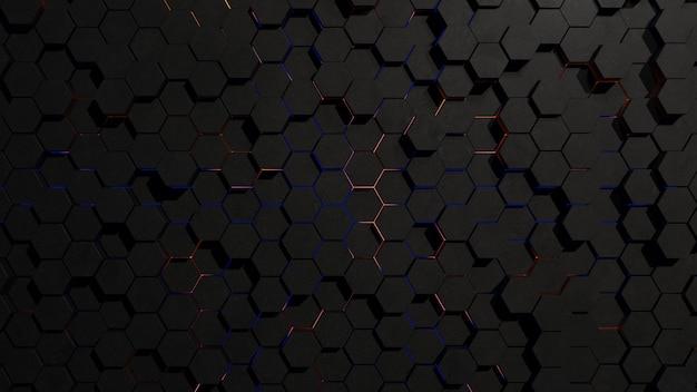 Abstrakte dunkle sechseck-gittertopologie mit randlicht Premium Fotos