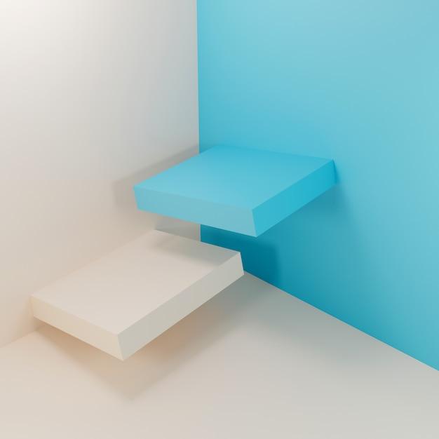 Abstrakte geometrische blaue und weiße podien Premium Fotos