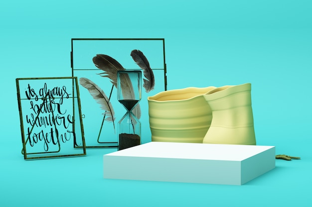 Abstrakte geometrische form pastellgrüne farbszene minimal mit dekoration und requisite, design für kosmetik oder produktanzeige podium 3d rendern Premium Fotos