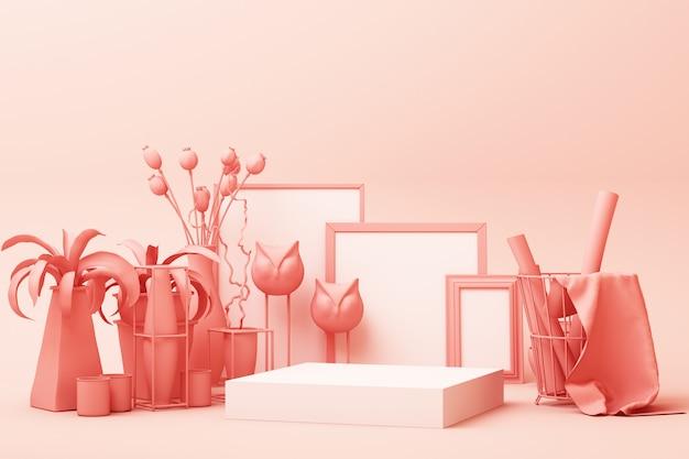 Abstrakte geometrische form pastellrosa farbszene minimal mit dekoration und requisite, design für kosmetik oder produktanzeige podium 3d rendern Premium Fotos
