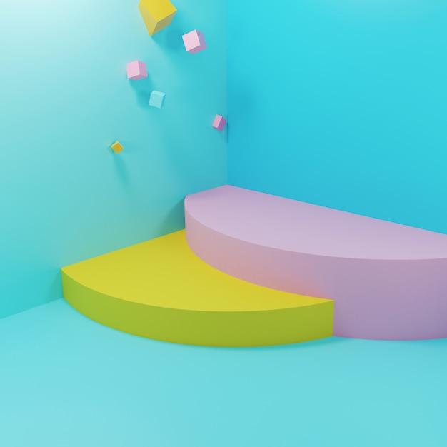 Abstrakte geometrische podien mit schwebenden figuren Premium Fotos